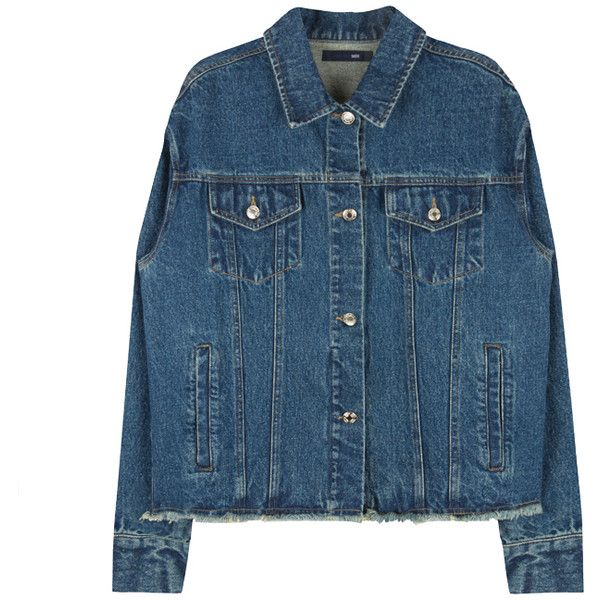 HIDE AND SEEKFrayed Hem Button-Down Denim Jacket | MIXXMIX ($70) ❤ liked on Polyvore featuring outerwear, jackets, button down jacket, blue jackets, multi pocket jacket, vintage denim jacket and jean jacket
