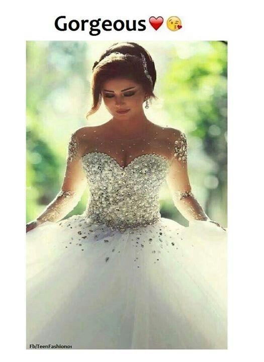 b6eacb94f Vestido de novia acorazonado de princesa manga larga de piedras preciosas