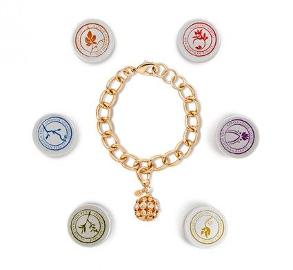 Goldtone removable fragrance charm with chain link bracelet