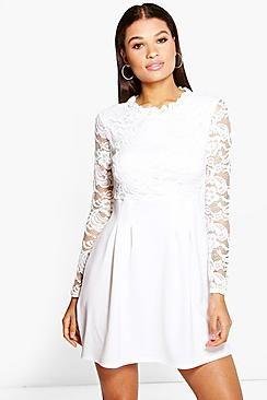 7715badadbeb1 Lisa High Neck Lace Skater Dress | Dresses | Pinterest | Prom ...