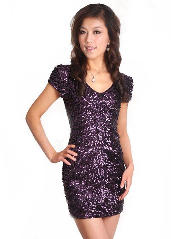 be83d20c15d3d Details about Women Sequins Short Dress V-Neck Tassel Sleeve Glitter ...