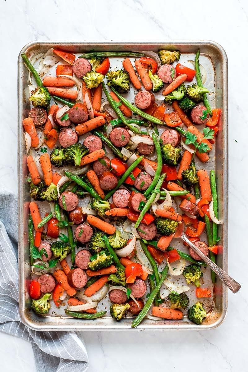 Pan Roasted Veggies and Sausage recipe from Sheet Pan Roasted Veggies and Sausage recipe from