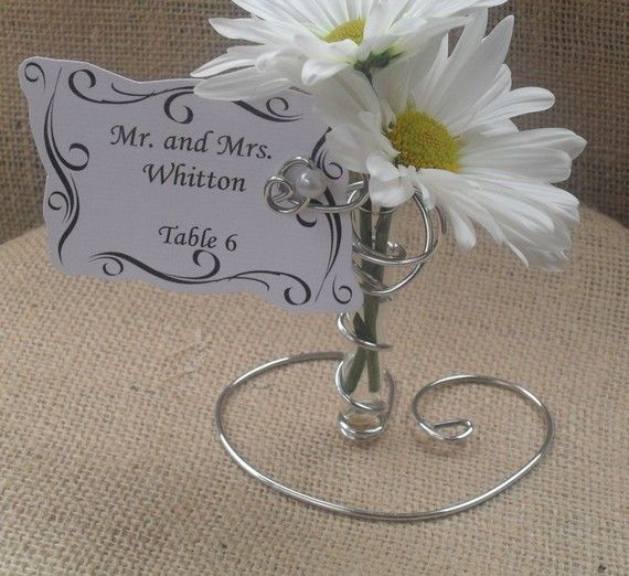 25 Silver Wedding Place Card Holders with mini by thefunkyshack