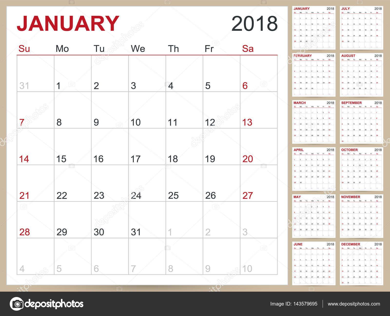 Inglés calendario 2018 — Ilustración de stock #143579695 | Molde ...