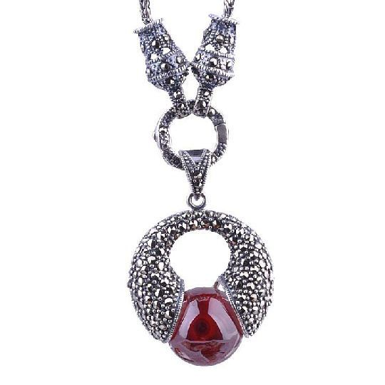 Ruby Red Gem Stone or White Pearl Inlaid Thai Silver Necklace Jewelry Pendant-Style Pearl