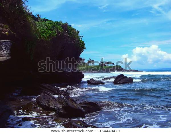 Beach Scenery Natural Sea Rocks Tanah Stock Photo Edit Now 1154440420 Tanah