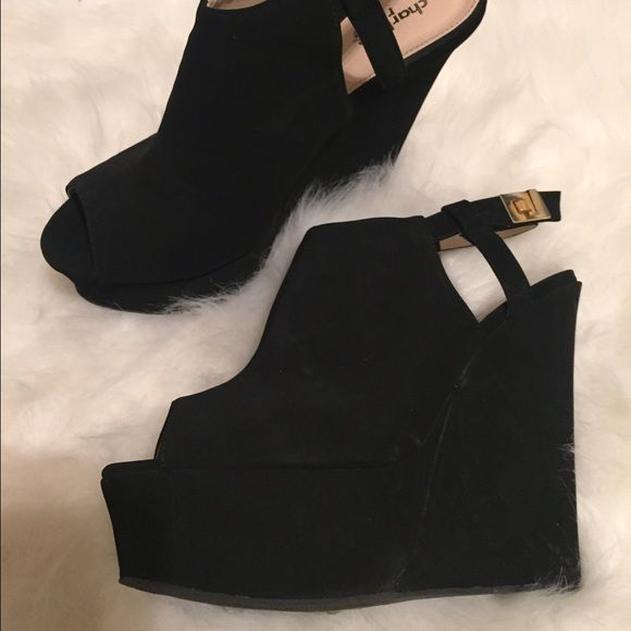 Black wedges Black wedges from Charlotte Russe. Size 9. Worn once. Velvet material. Charlotte Russe Shoes Wedges