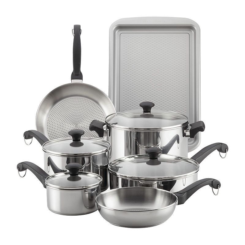Farberware 12 Pc Stainless Steel Non Stick Cookware Set