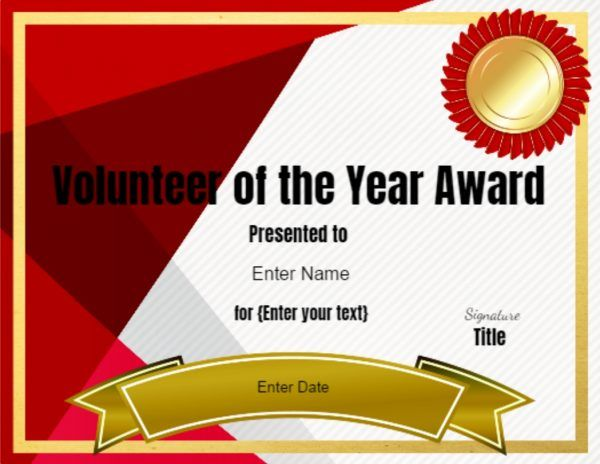 Volunteer of the year certificate template ice breaker games volunteer of the year certificate template yelopaper Choice Image