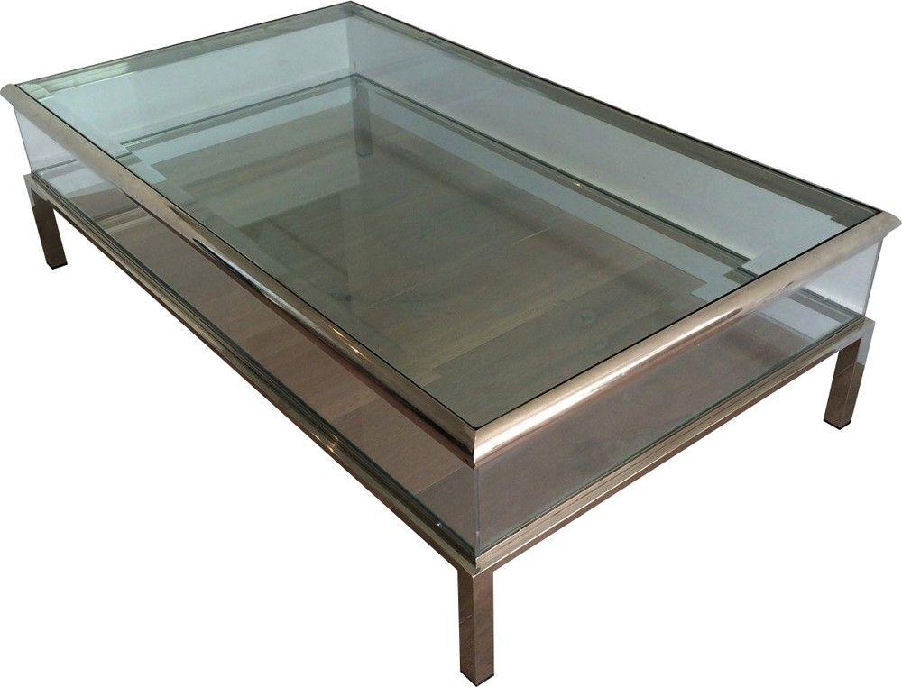 table basse avec vitrine coulissante en