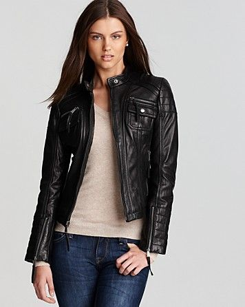 83961ecd KORS Michael Kors Zip Detail Moto Leather Jacket - Coats & Jackets ...