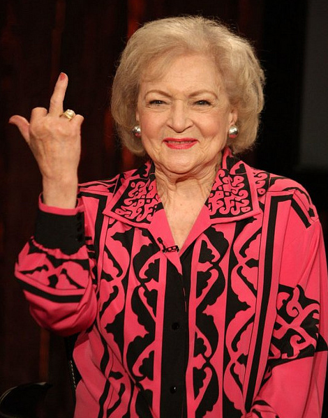 Image result for betty white flipping off the camera