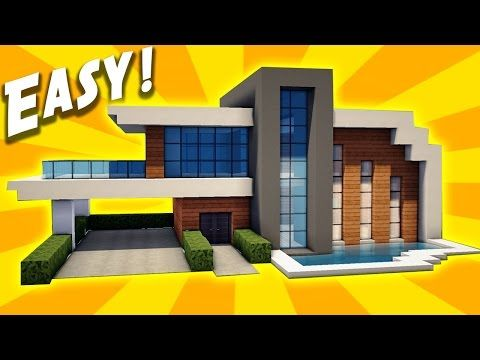 Minecraft easy modern house tutorial how to build a for Simple houses to build