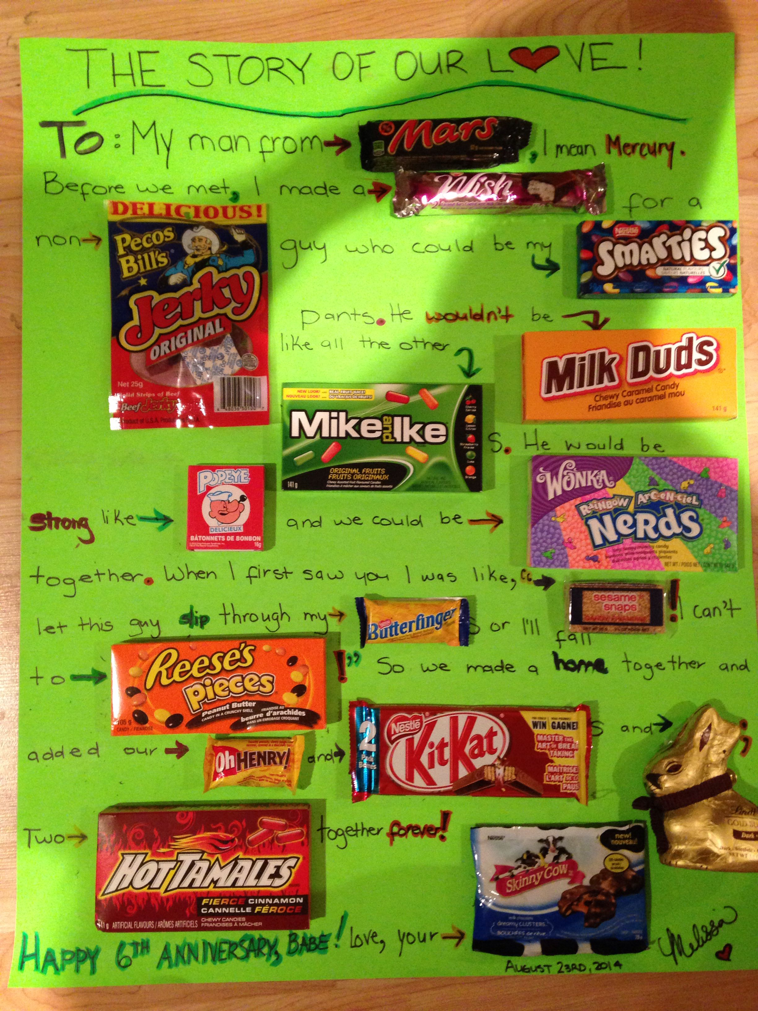 6th Year Candy Anniversary Idea Candy Board Candy Board Mike And Ike Smarties