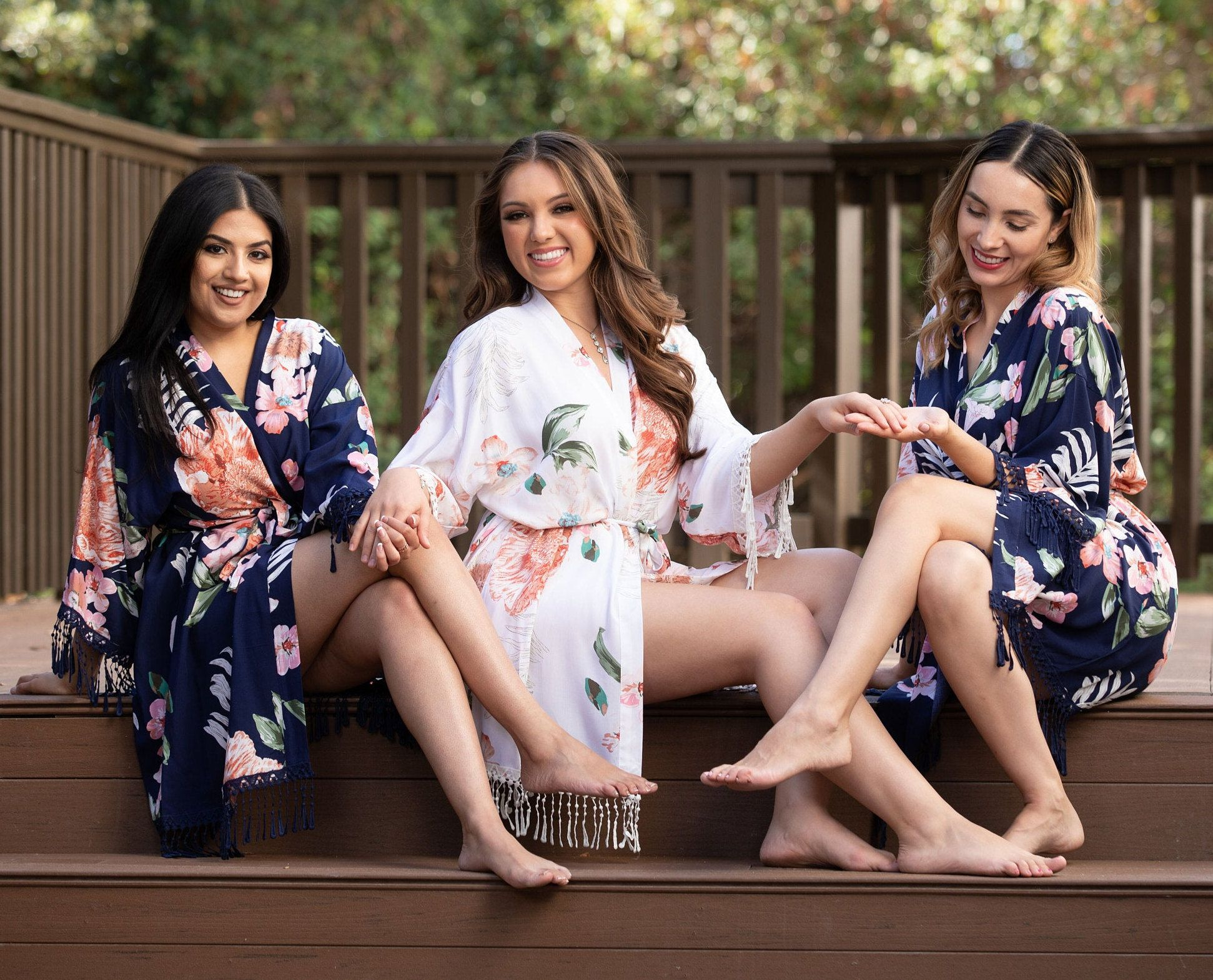 Wedding Day Robe Tropical Print Robe Bridesmaid Robes Bridal Party Robes Personalized Gifts Bridal Lingerie Bridesmaids Gifts