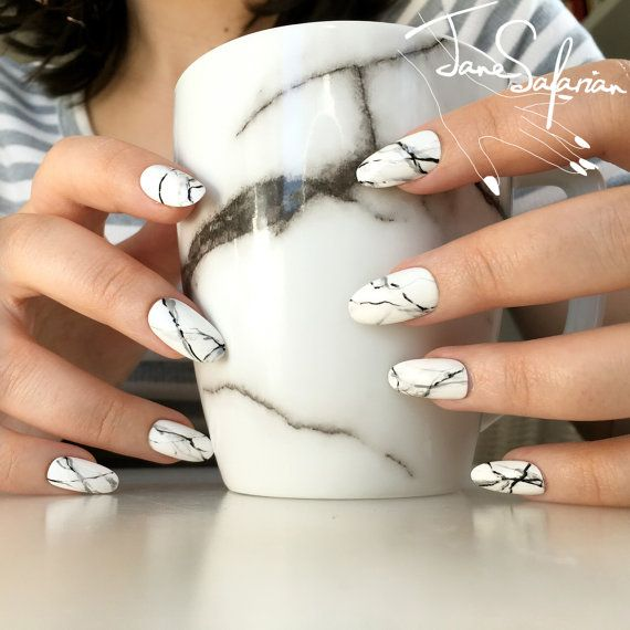 Reusable White Stone Marble Press-On Nails | Etsy