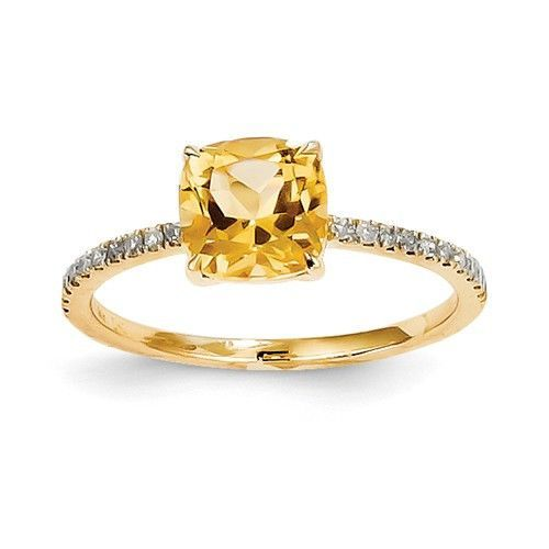 14k Yellow Gold Diamond And Citrine Cushion Square Ring Squares