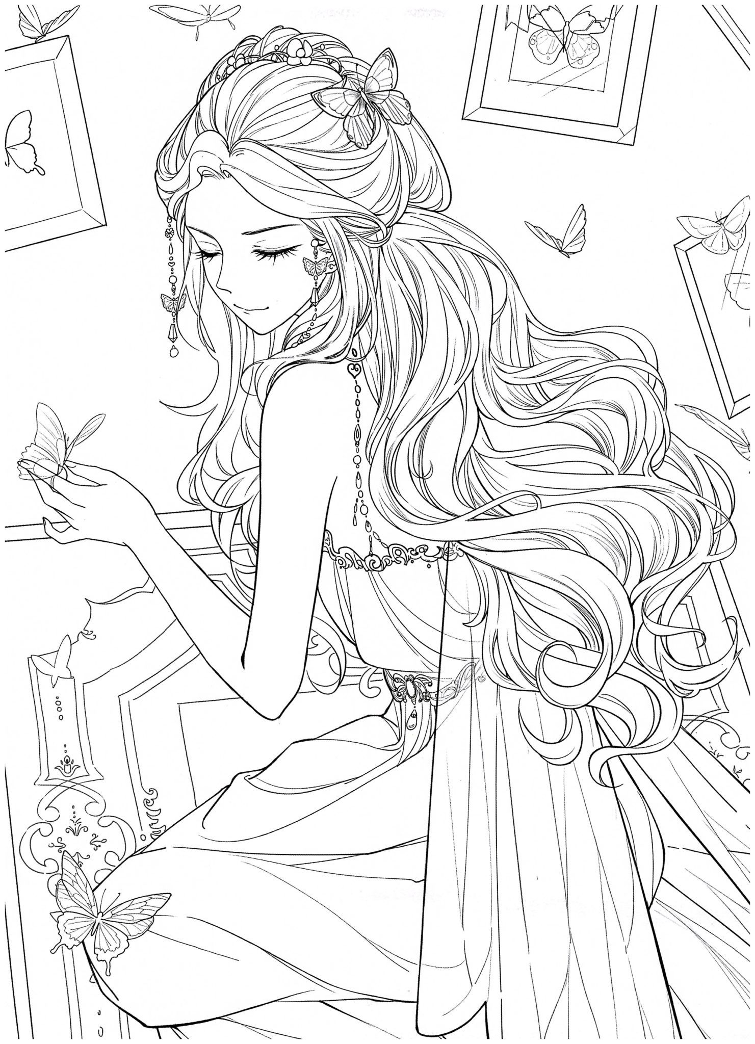 Chinese Portrait Coloring Ebook Vol 13 Floral Wedding Kayliebooks Coloring Book Art Manga Coloring Book Detailed Coloring Pages [ 2048 x 1481 Pixel ]