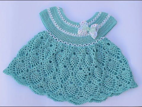This Beautiful Crochet Pineapple Stitch Baby Dress Featured