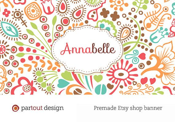 Premade custom web logo Etsy shop banner design (Photoshop template - Etsy Banner Template