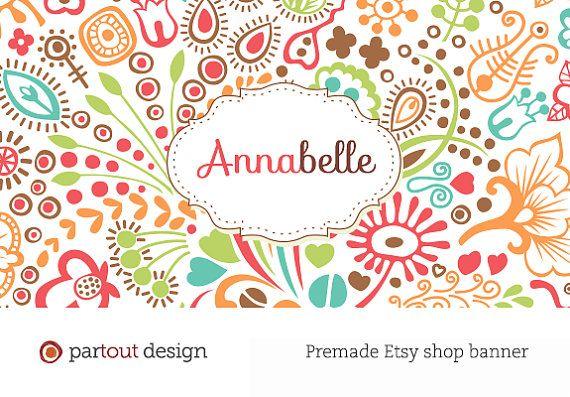 Premade custom web logo Etsy shop banner design (Photoshop template - etsy banner template
