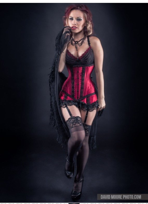 Custom Made Red Under Bust Corset And Garter Set Evening Attire Trending Outfits Fashion Outfits
