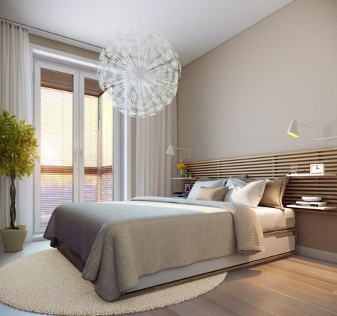kleine-schlafzimmer-modern-creme-wandfarbe-holzlatten-bett - schlafzimmer nach feng shui einrichten