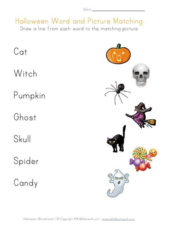 Halloween Word Matching Printable Worksheets Halloween Worksheets Halloween Words Halloween Preschool Halloween worksheets for preschoolers