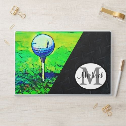 Men's Golf Name Monogram Sports Hobby Black HP Laptop Skin