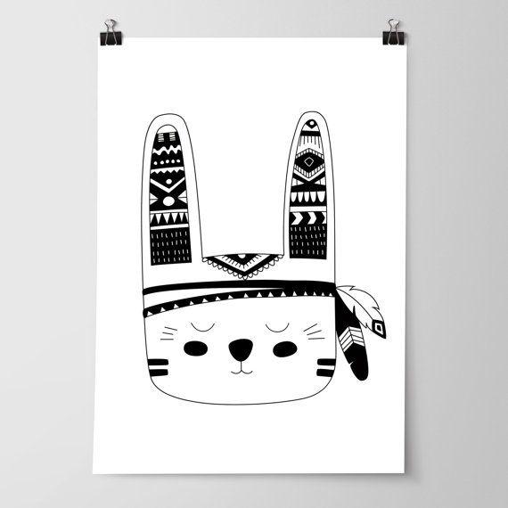 Boys Tribal Monochrome Nursery Bedroom Prints, Kids Wall Art Decor ...