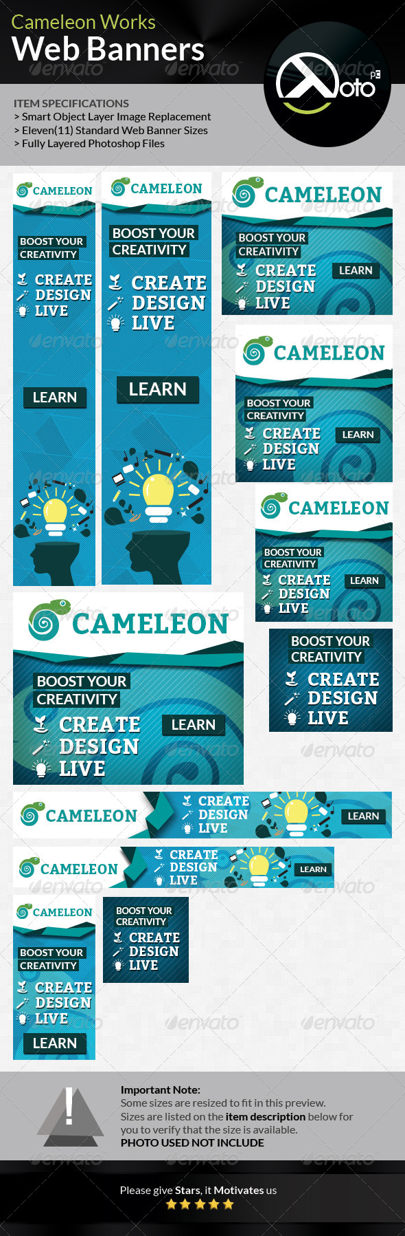 Cameleon Works Web Banners   Web banners, Banner template and Web ...