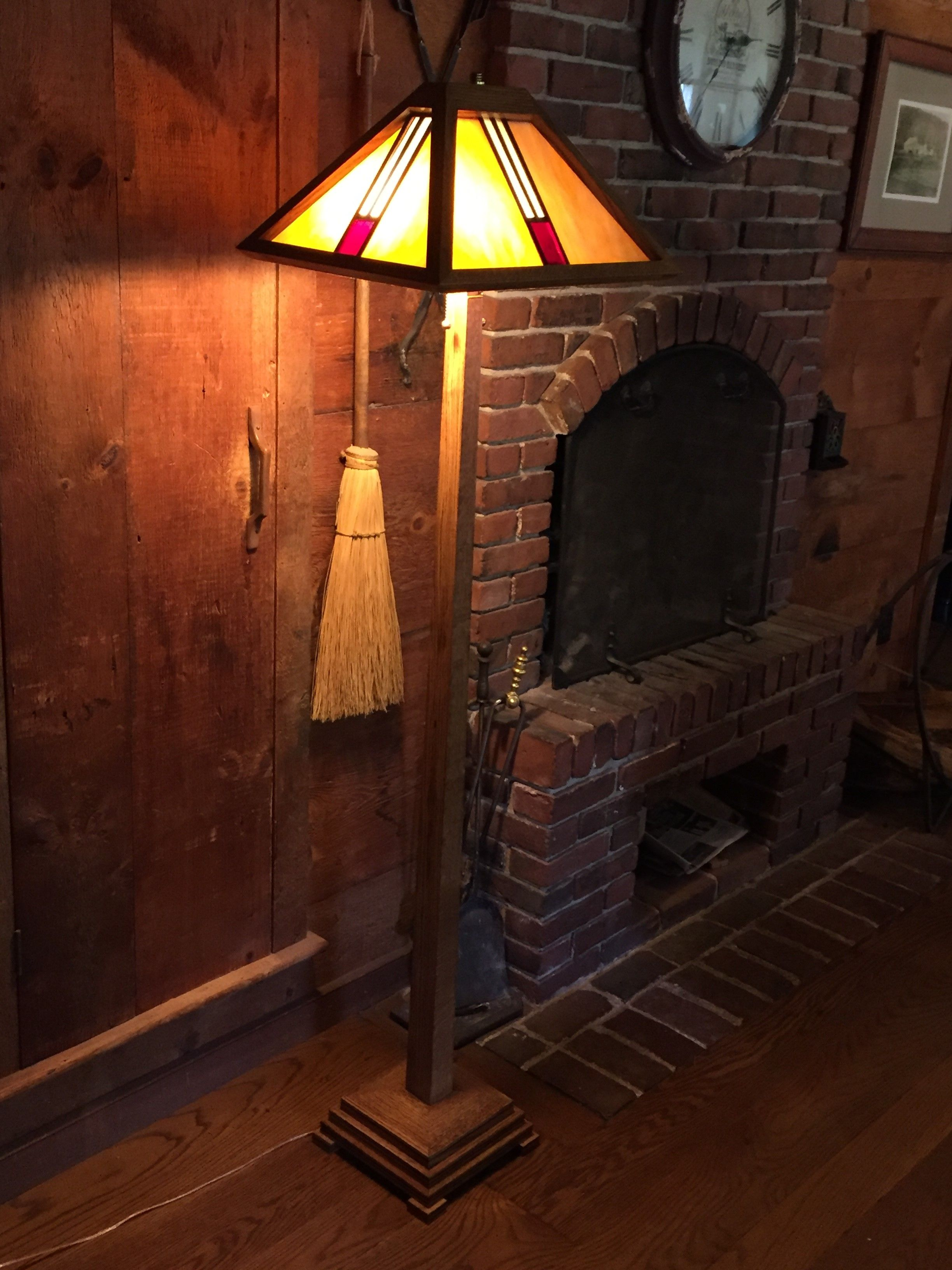 Arts And Crafts Floor Lamp Done In White Oak Light Espresso Stain Shellac