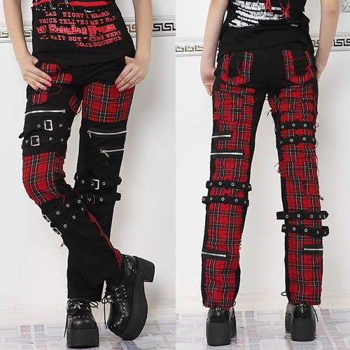 Red Plaid Black Steam Punk Gothic Fashion Casual Pants for Women ...