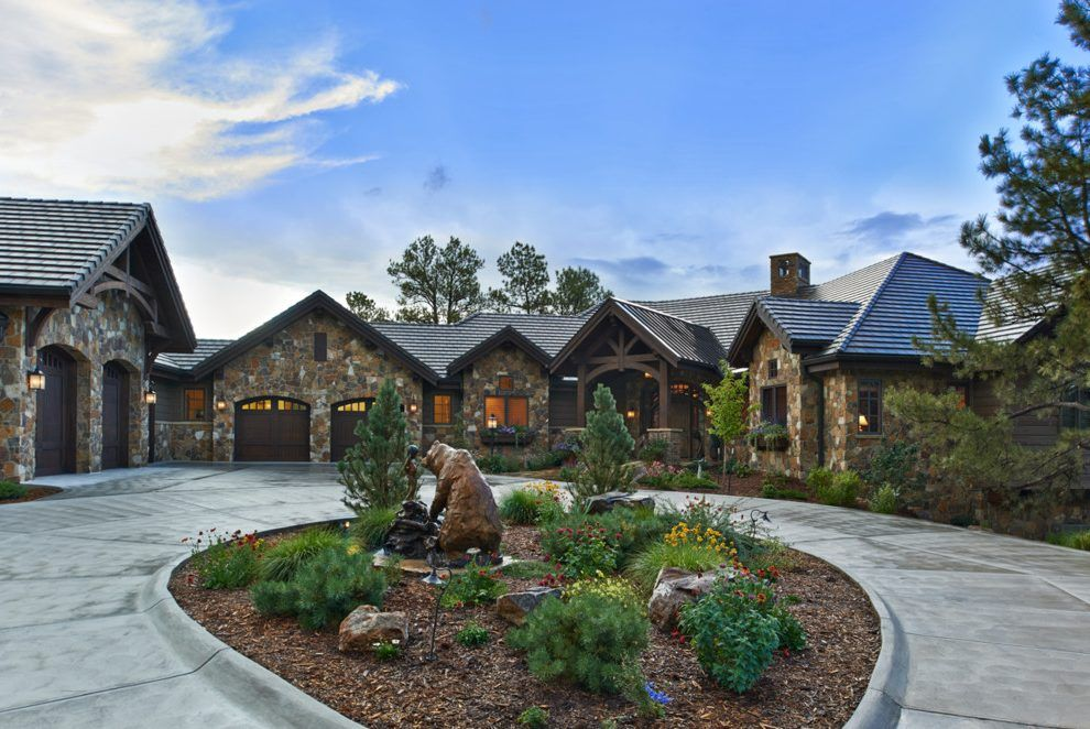 Circular Driveway Landscaping Exterior Rustic With Dutch