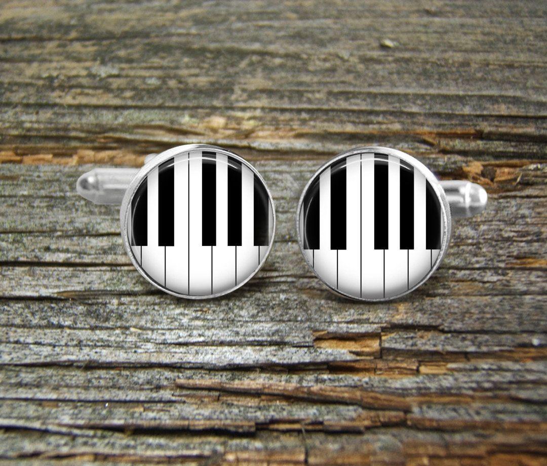 Piano Keys Music Instrument Silver Gold-Cufflinks-Wedding