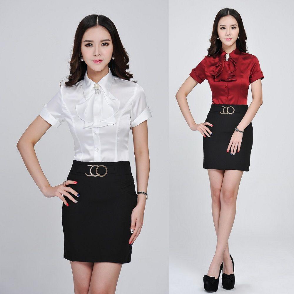 Moda mujer trajes con falda y blusa Sets camisa blanca con corbata ... a9d39d7f8a4