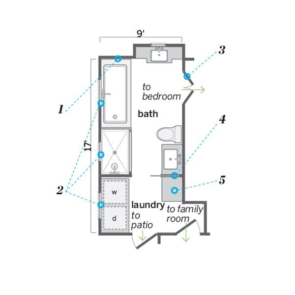 Years Of Planning And Saving Followed By Months Of Hard Work Give An Enterprising Couple Their L Laundry In Bathroom Laundry Room Bathroom Bathroom Floor Plans