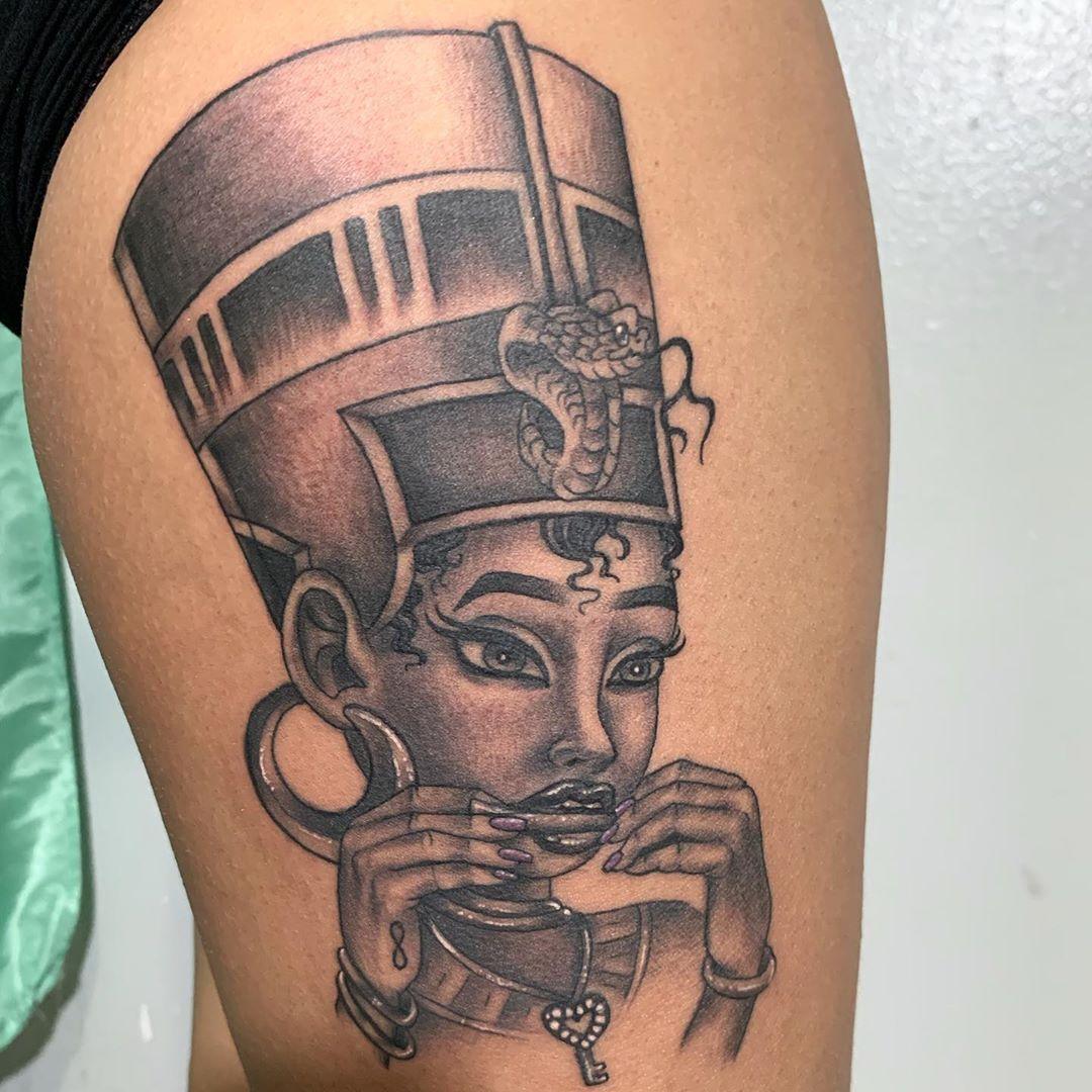 Licensed tattoo artist on instagram custom nefertiti