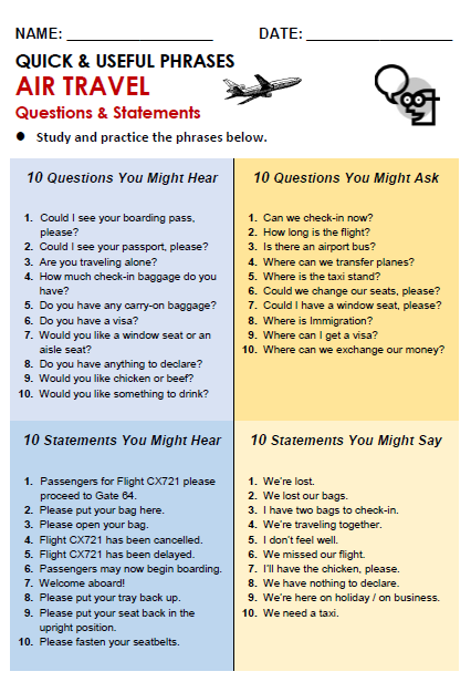 Helpful phrases and questions you might hear at the airport