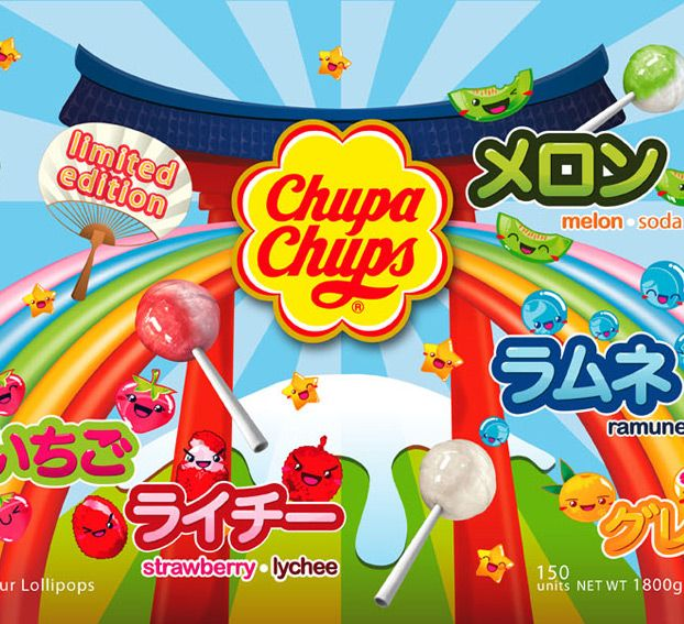 Design of kodomo manga style characters representing the different flavors of the limited edition of Chupa Chups can in Japan. Design of decorative elements used in the final montage of the packaging.