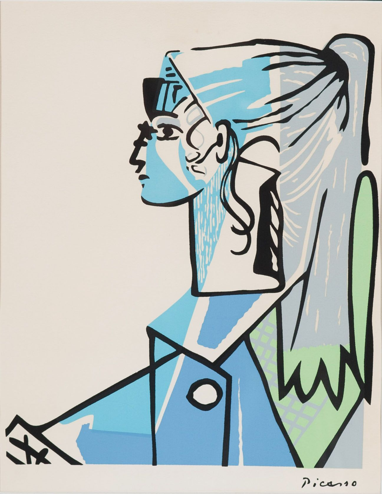 "Picasso Portrait of Sylvette David in Green Chair serigraph screen print 13 5"" x 10 5"" call"