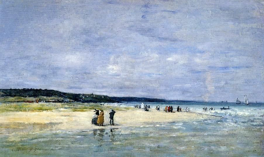 Beach near trouville by eugenelouis boudin hand painted