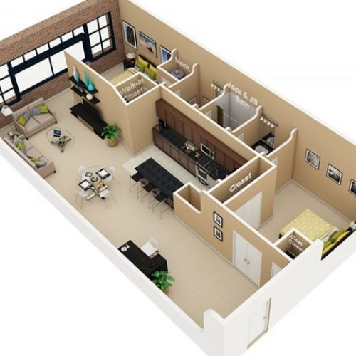 3D Small House Plans 800 sq ft 2 Bedroom and Terrace 2015 - plan de maison 3d gratuit
