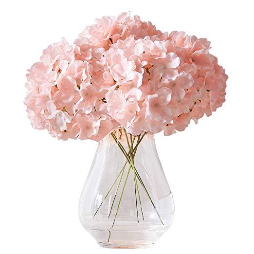 Amazon Com Kislohum Artificial Hydrangea Flowers Blush Heads 10 Fake Hydrangea Silk Flow Artificial Hydrangea Flowers Silk Flowers Wedding Diy Fake Hydrangeas