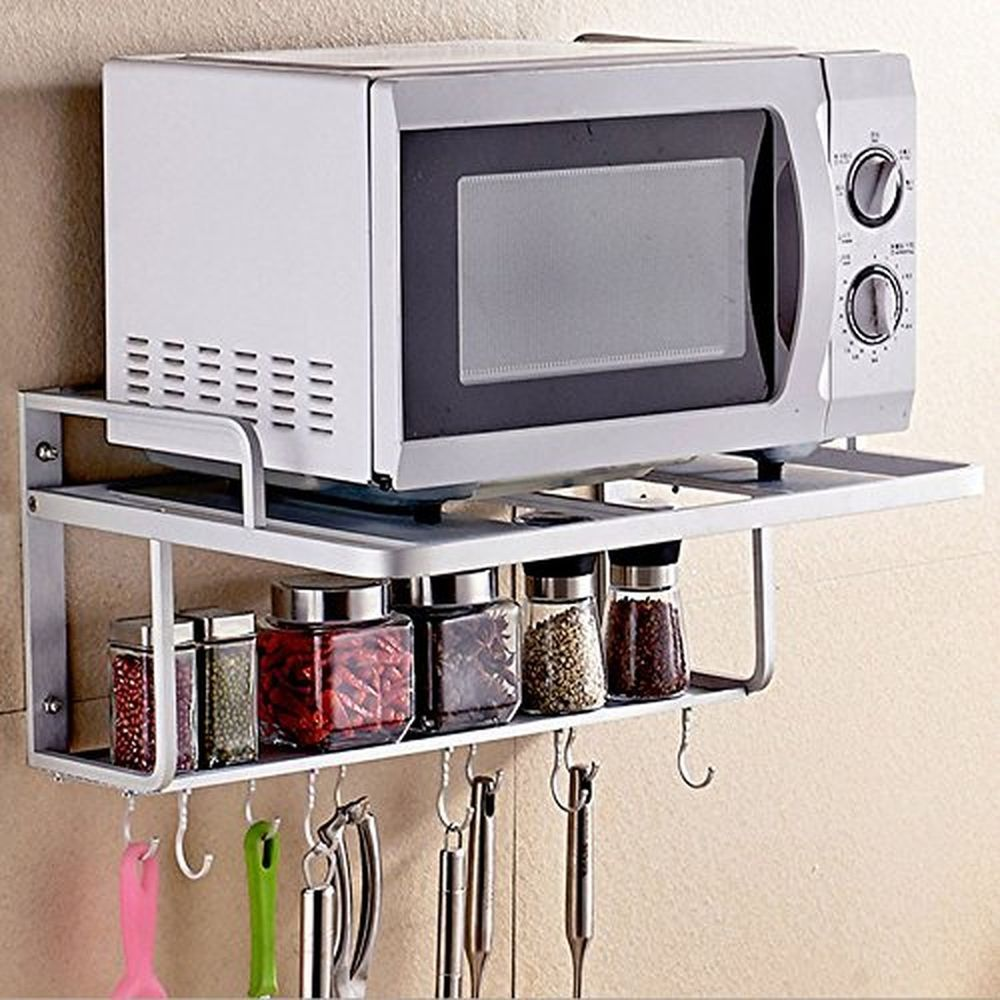 Spacecare Double Bracket Alumimum Microwave Oven Wall Mount Shelf With Removable Spacecare Decoracao De Casa Escorredor De Pratos Decoracao Casa Pequena