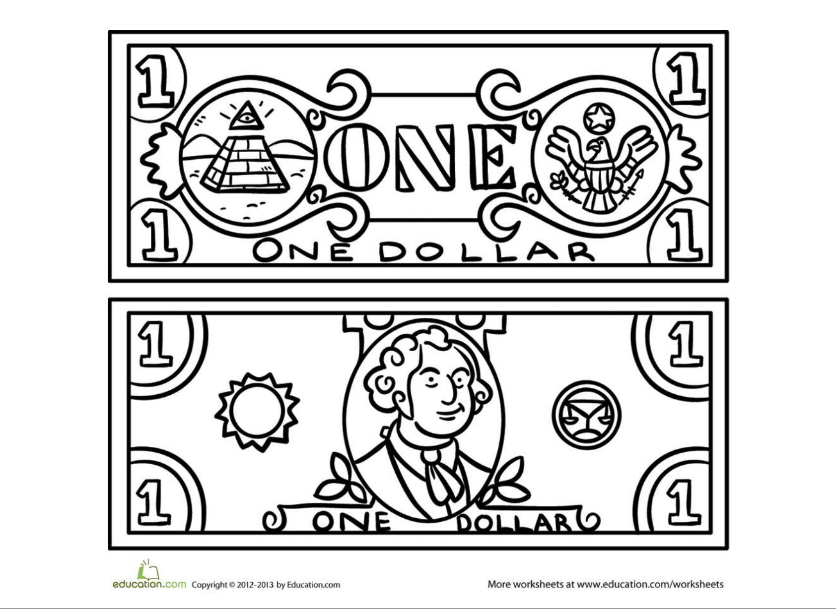 Dollar Coloring Page