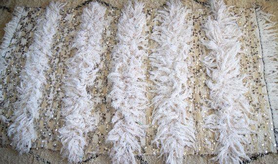 "Vintage HANDIRA Sequinned Tasseled Moroccan Wedding Blanket Glitter Day Bed Drape Rug Mid Century Glamour 3' 6 x 6' 10"""