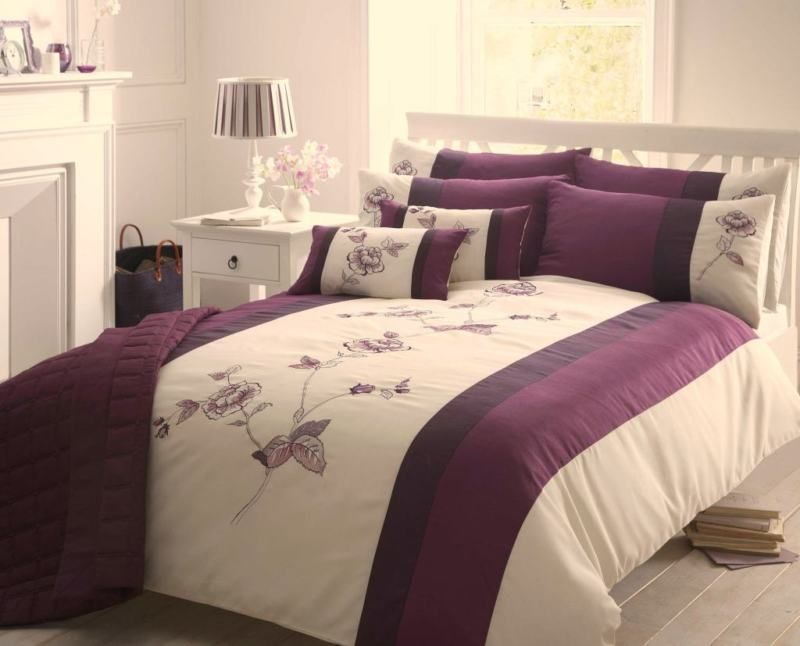 Purple   Cream Double Duvet Cover   Floral Bed Set   Embroidered Bed Linen    eBay. Purple   Cream Double Duvet Cover   Floral Bed Set   Embroidered