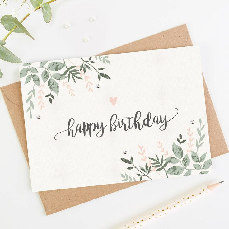 Happy Birthday Card Botanical Blush #rusticchristmas