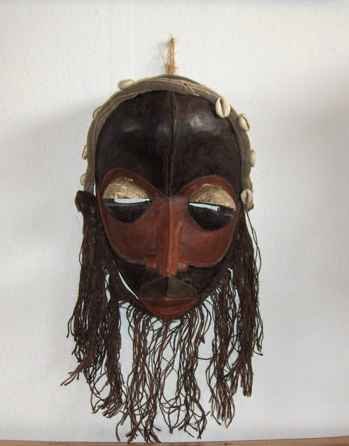 Dan Painted Wooden, Fiber, Cotton and Cowrie Shells Mask, Ivory Coast African Mask